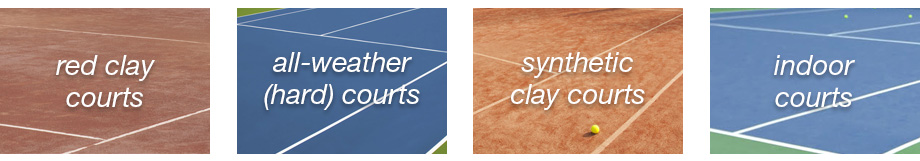 Our courts include red clay, all-weather hard, synthetic clay and indoor courts.